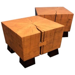"Pair of American Spruce ""Timber"" End / Side Tables by Mimi London"