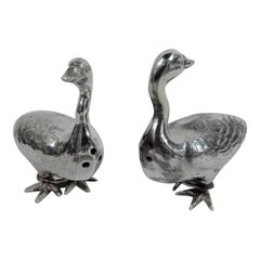 Pair of American Sterling Silver Figural Goose Salt and Pepper Shakers