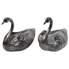 Pair of American Sterling Silver and Glass Figural Swan Bird Bowls