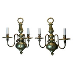 Pair of American Style Brass Wall Sconces