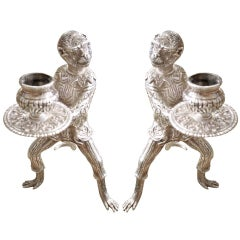 Pair of American Tiffany Sterling Silver Monkey Candlesticks