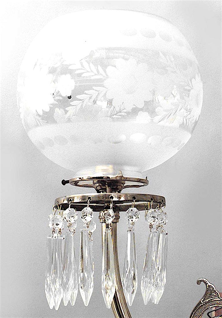 19th Century Pair of American Victorian Brass and Glass Globe Wall Sconces For Sale