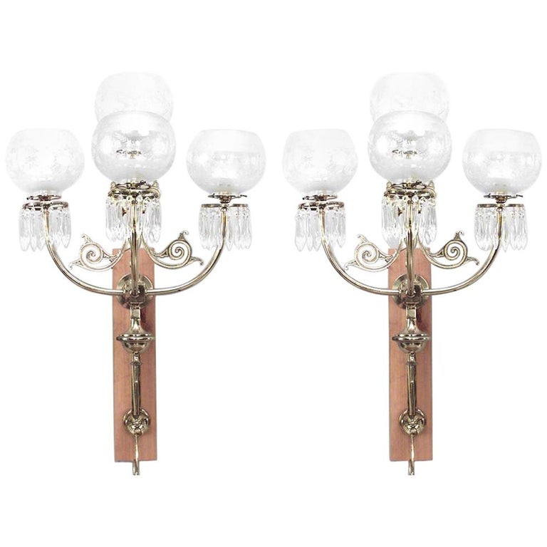 Pair of American Victorian Brass and Glass Globe Wall Sconces For Sale