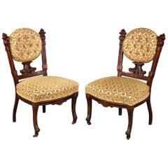 Pair of American Victorian Burled Walnut Side Chairs attr Pottier & Stymus