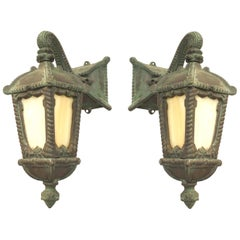 Pair of American Victorian Iron Outdoor Wall Sconces