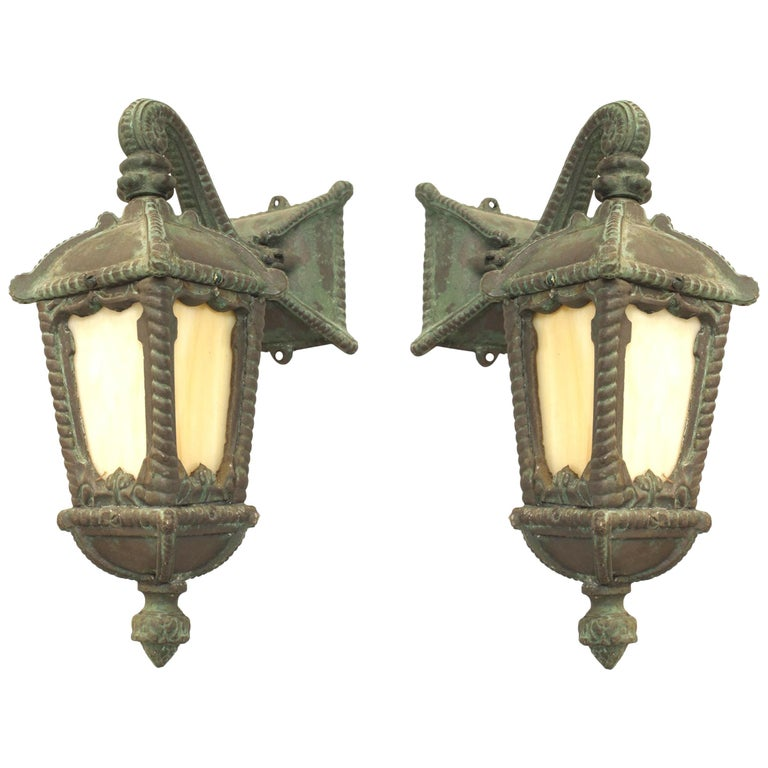 Pair Of American Victorian Iron Outdoor Wall Sconces For
