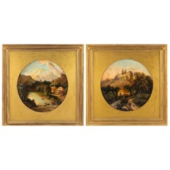 Pair of American Victorian Landscape Paintings in Gilt Frames