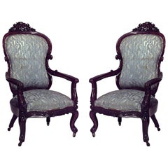 Pair of American Victorian Rosewood Armchairs