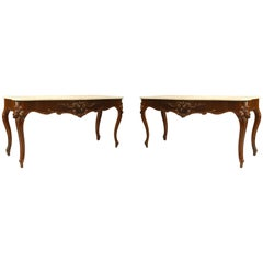 Pair of American Victorian Serpentine Front Console Tables