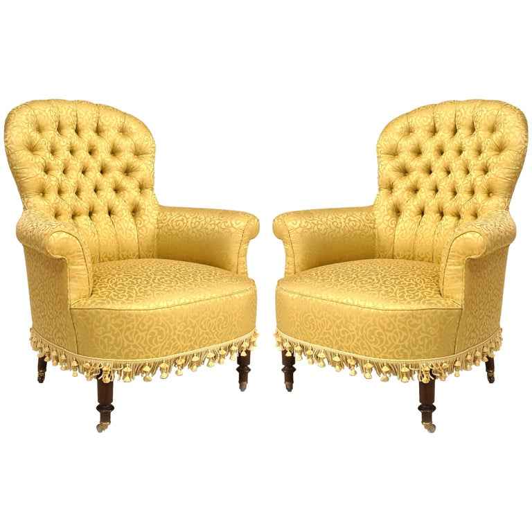 Pair Of American Victorian Style 20th Century Gilt Tub Chairs For