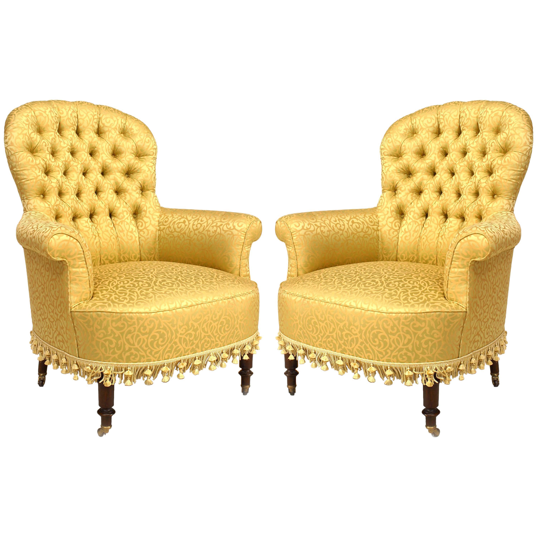 Merveilleux Pair Of American Victorian Style U002720th Centuryu0027 Gilt Tub Chairs