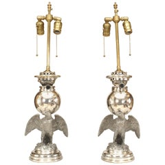 Pair of American Victorian Style Eagle Base Lamps