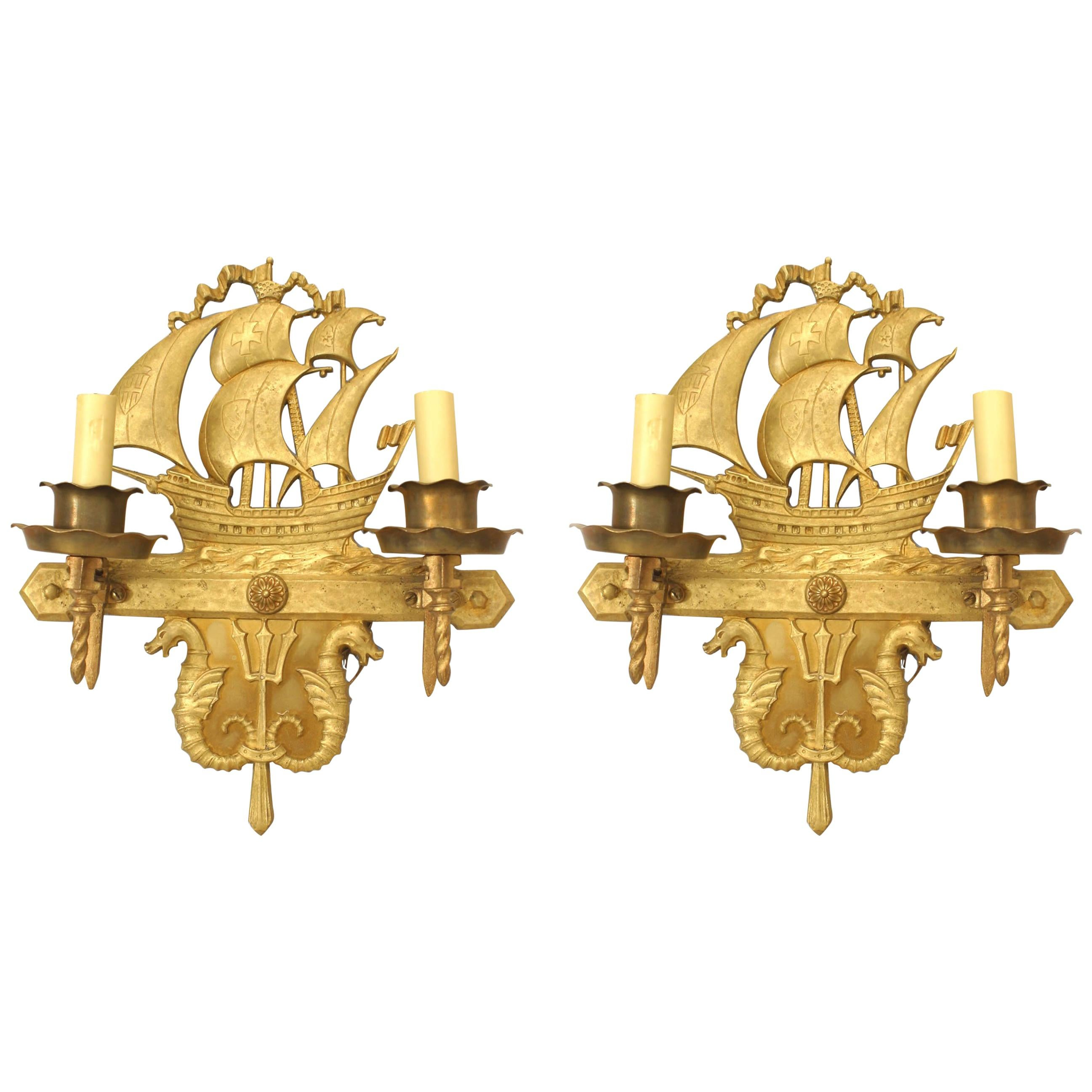 Pair of American Victorian Style Bronze Ship Wall Sconces