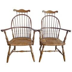 Pair of American Vintage High Back Windsor Armchairs