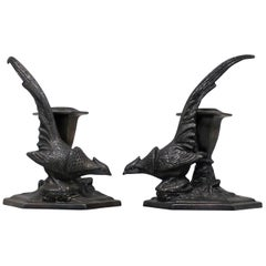 Pair of American Weidlich Bros, Silver Plate Pheasant Candlesticks