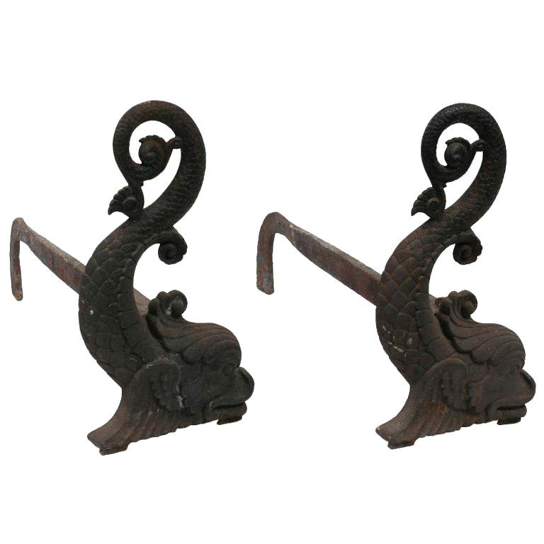 Pair of American Whimsical Castiron Dolphin Shaped Andirons