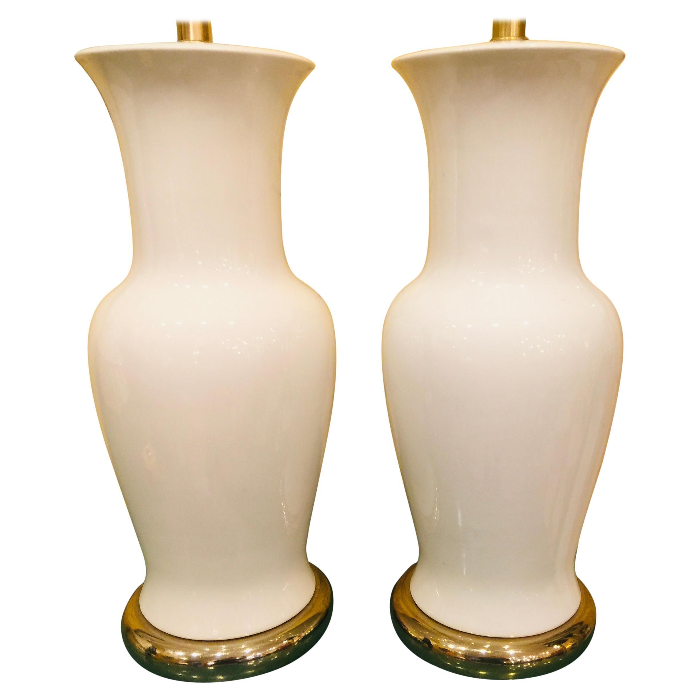 Pair of American White Porcelain Vase Lamps