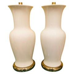 Pair of American White Porcelain Vase Lamps