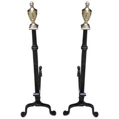 Pair of American Wrought Iron & Brass Urn Finial Andirons . Circa 1780