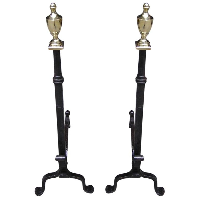 Pair of American Wrought Iron & Brass Urn Finial Andirons . Circa 1780 For Sale