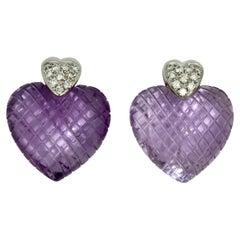 Pair of Amethyst and Diamond Earrings