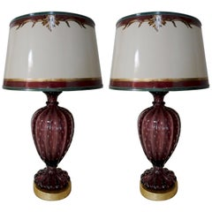 Pair of Amethyst Colored Murano Lamps with Parchment Shades