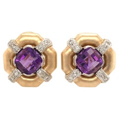 Pair of Amethyst, Gold and Diamond Earrings