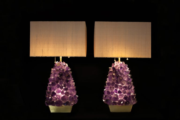 Brazilian Pair of Amethyst Lamps, Demian Quincke For Sale
