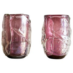 20th Century Pair of Amethyst Murano Vases