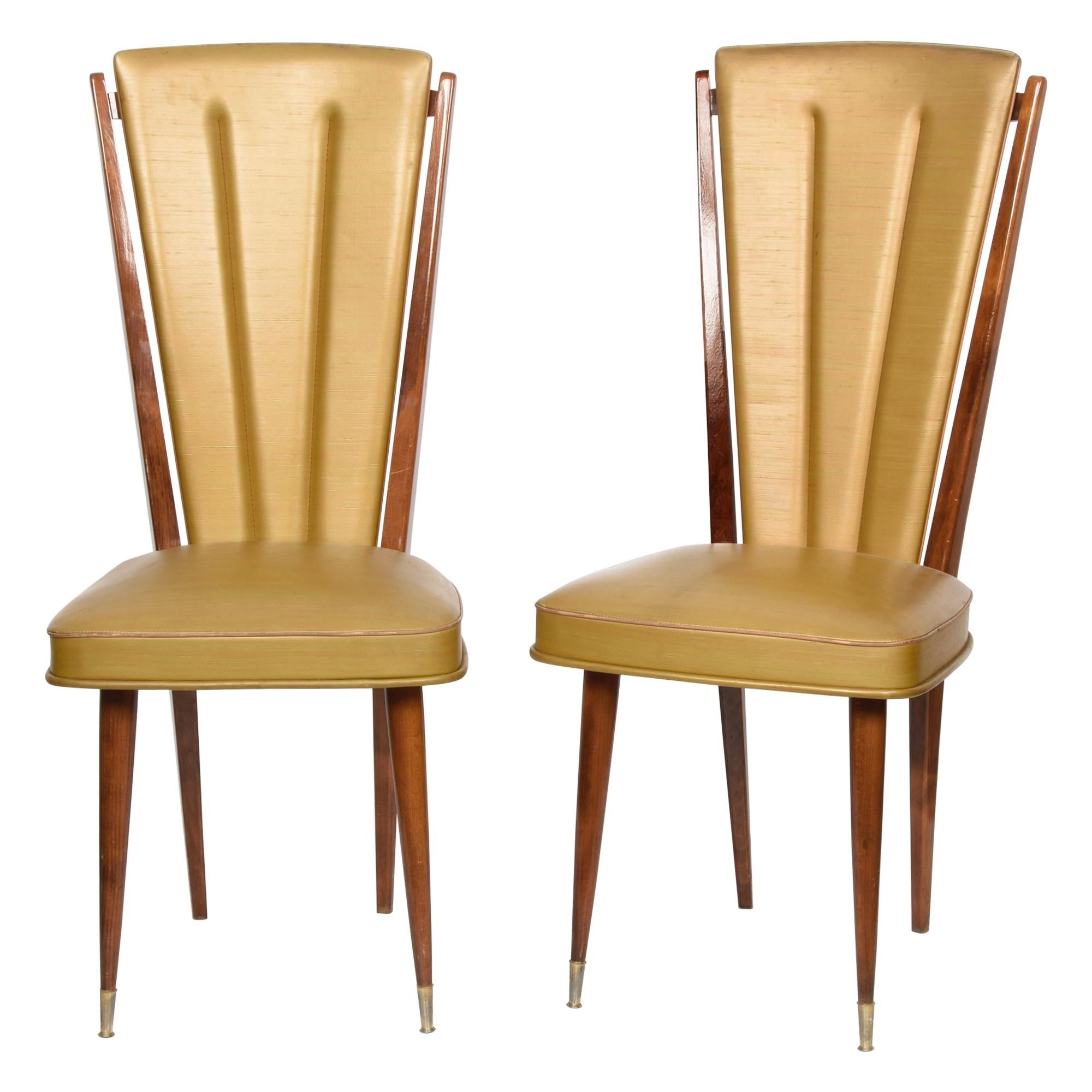 Pair of Ameublement NF Beech and Beige Vinyl Upholstered Dining Chairs, 1950s
