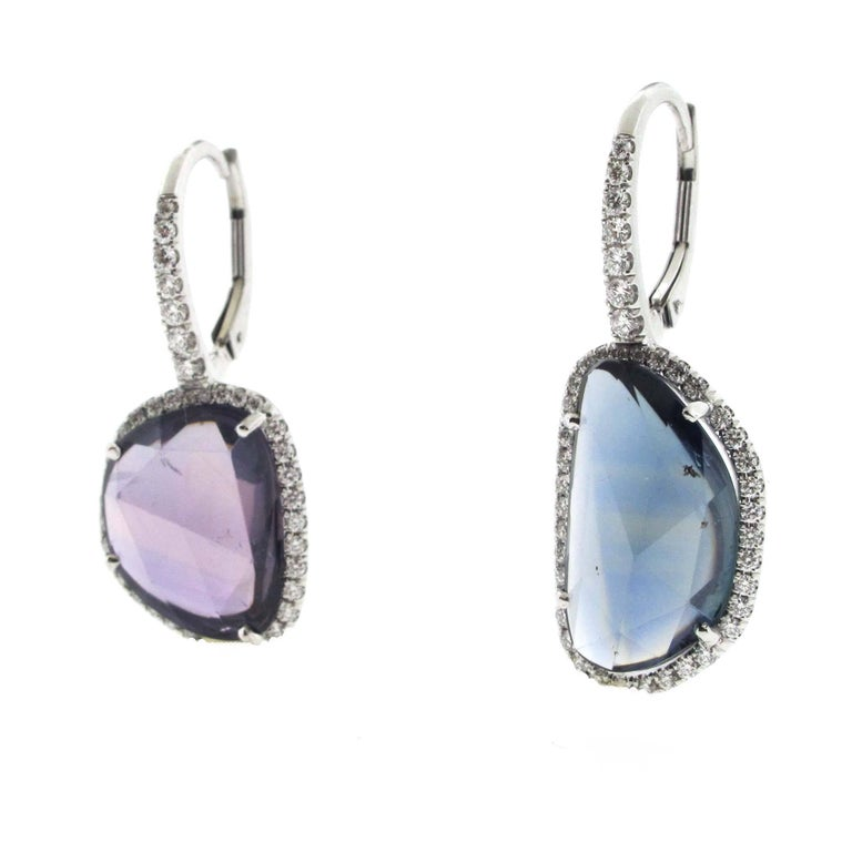 Rose Cut Pair of Amoeba Sapphire Earrings Set in Platinum with Diamonds For Sale