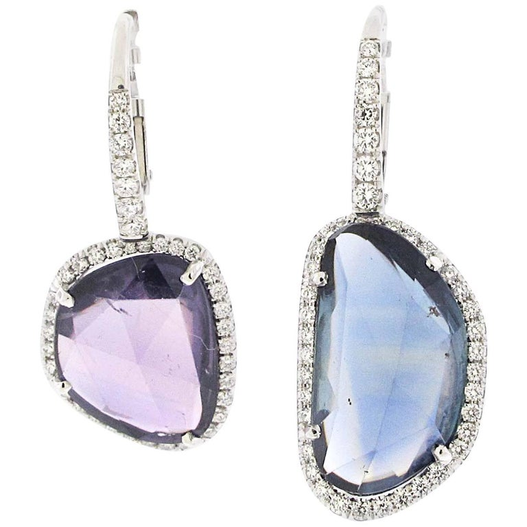Pair of Amoeba Sapphire Earrings Set in Platinum with Diamonds For Sale