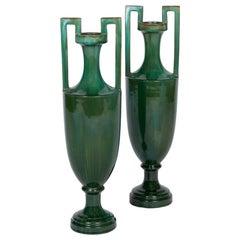 Pair of Amphora Vases in Green Earthenware, Beginning 20th Century