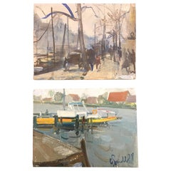 Pair of Amsterdam Singel Canal Views Dutch Paintings by Italian Perelli, 1971