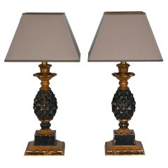 Pair of Ananas Table Lamps 1960-1970 Wood New Shades Afresh Electrification