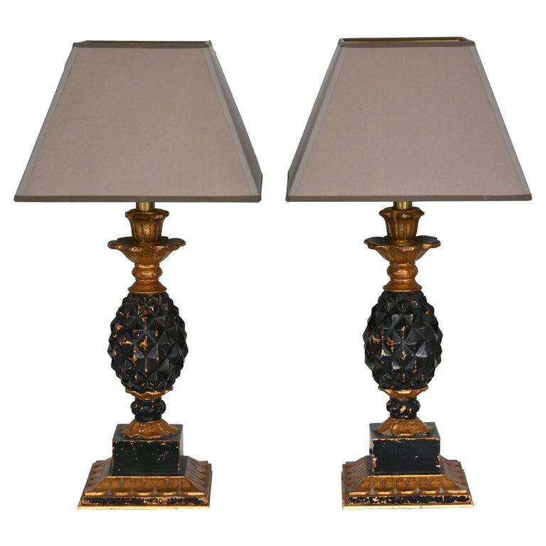 Pair of Ananas Table Lamps 1960-1970 Wood New Shades Afresh Electrification For Sale