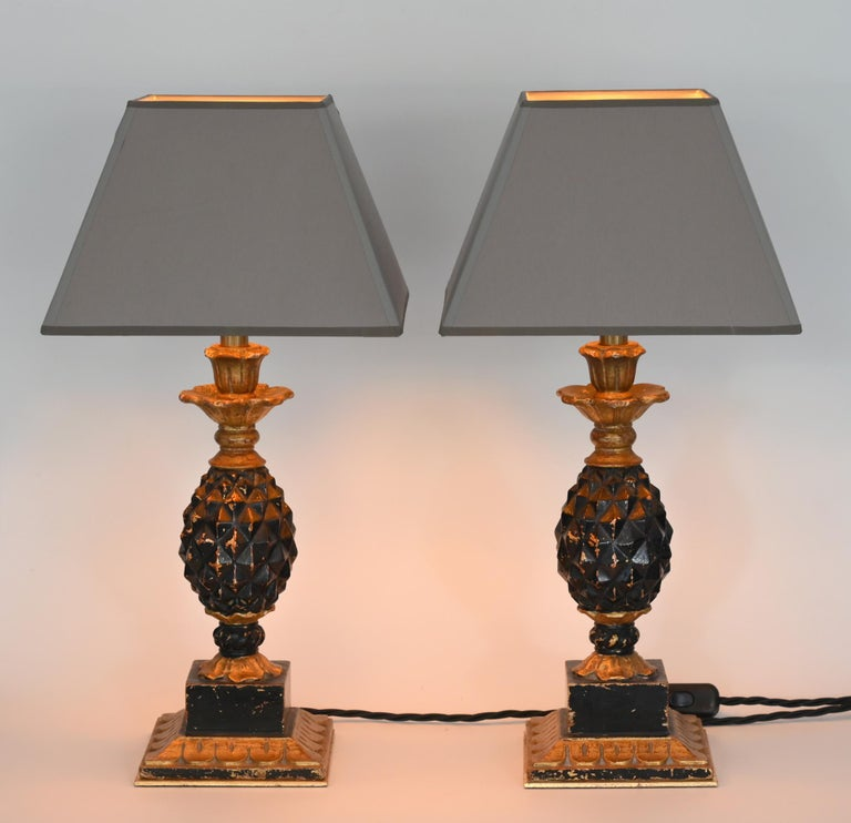 Pair of Ananas table lamps Italy 1960-1970 wood new shades Afresh electrification