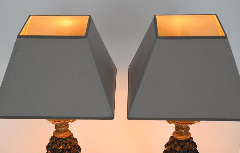 Italian Pair of Ananas Table Lamps 1960-1970 Wood New Shades Afresh Electrification For Sale