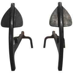 Pair of Anchor Form Andirons in Wrought Iron