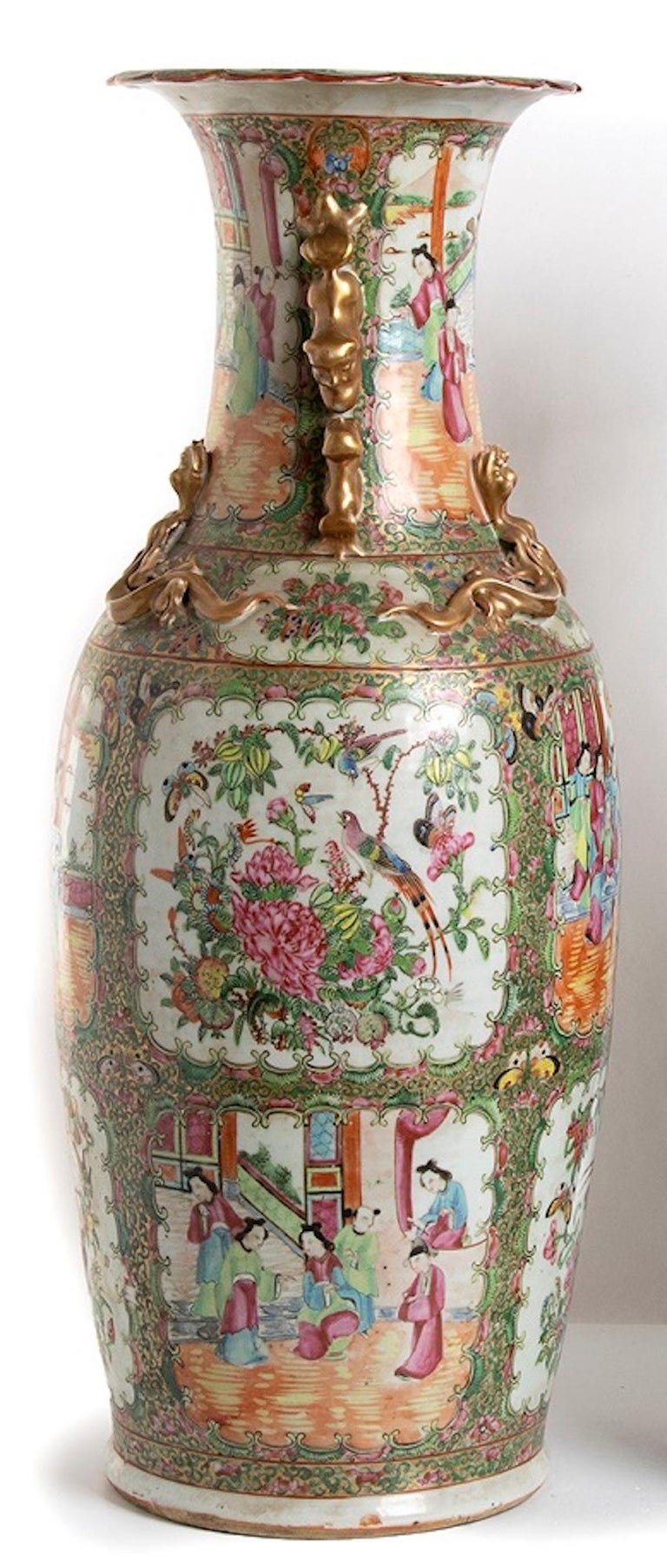 19th Century Pair of Antique Balustrade Porcelain Vases, Qing Dynasty China For Sale