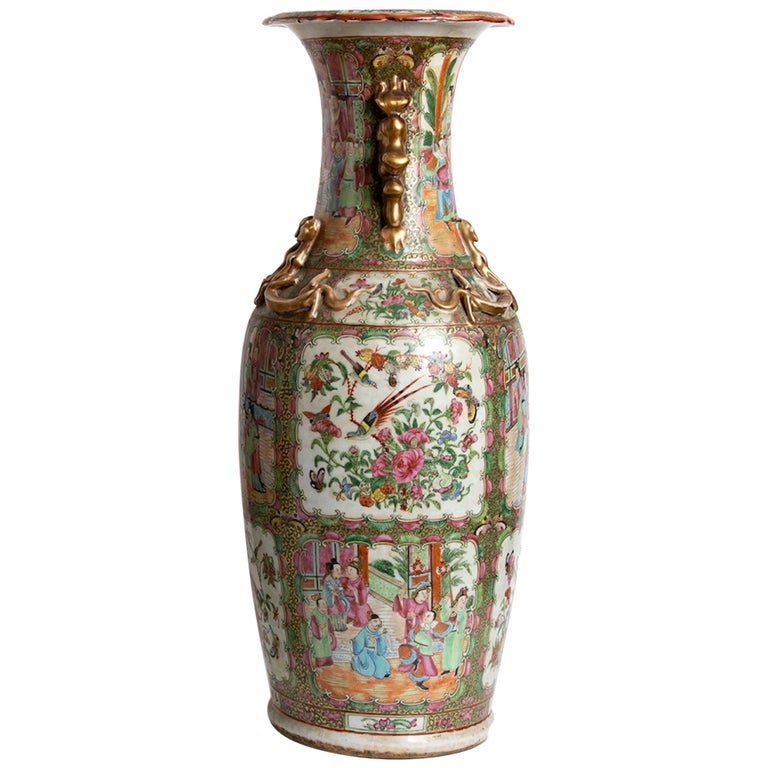 Pair of Antique Balustrade Porcelain Vases, Qing Dynasty China For Sale