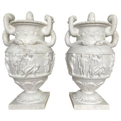 Pair of Ancient Greek Style White Carrara Marble Urns, late 20th Century