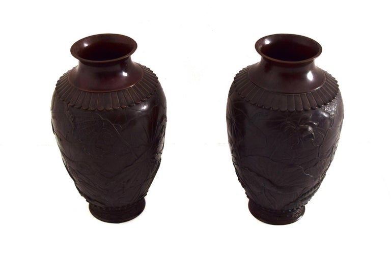 Meiji Pair of Ancient Japanese Vases, 19th Century For Sale