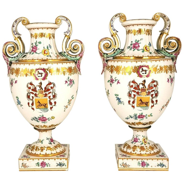 Pair of Ancient White Crater Vases, Italy, 19th Century For Sale