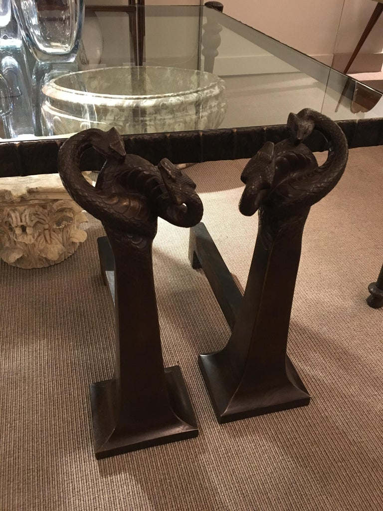 Patinated Pair of Andirons by Edgar Brandt, France, circa 1925 For Sale