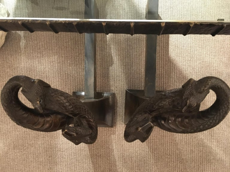 Pair of Andirons by Edgar Brandt, France, circa 1925 In Good Condition For Sale In New York, NY