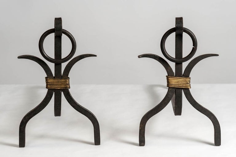 French Pair of Andirons by Jacques Adnet For Sale