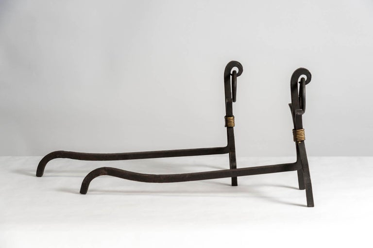 Mid-20th Century Pair of Andirons by Jacques Adnet For Sale