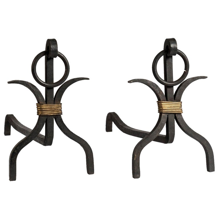 Pair of Andirons by Jacques Adnet For Sale