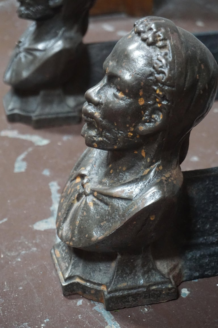 Pair of Andirons Cast in the Likeness of Bearded Man  In Good Condition For Sale In Dallas, TX